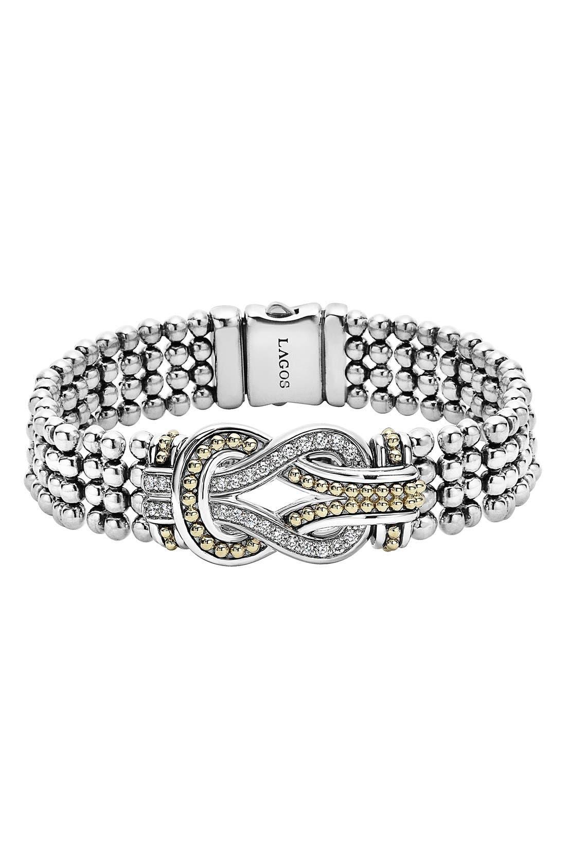 'Newport' Diamond Knot Flat Caviar Bracelet,                             Main thumbnail 1, color,                             Silver/ Gold
