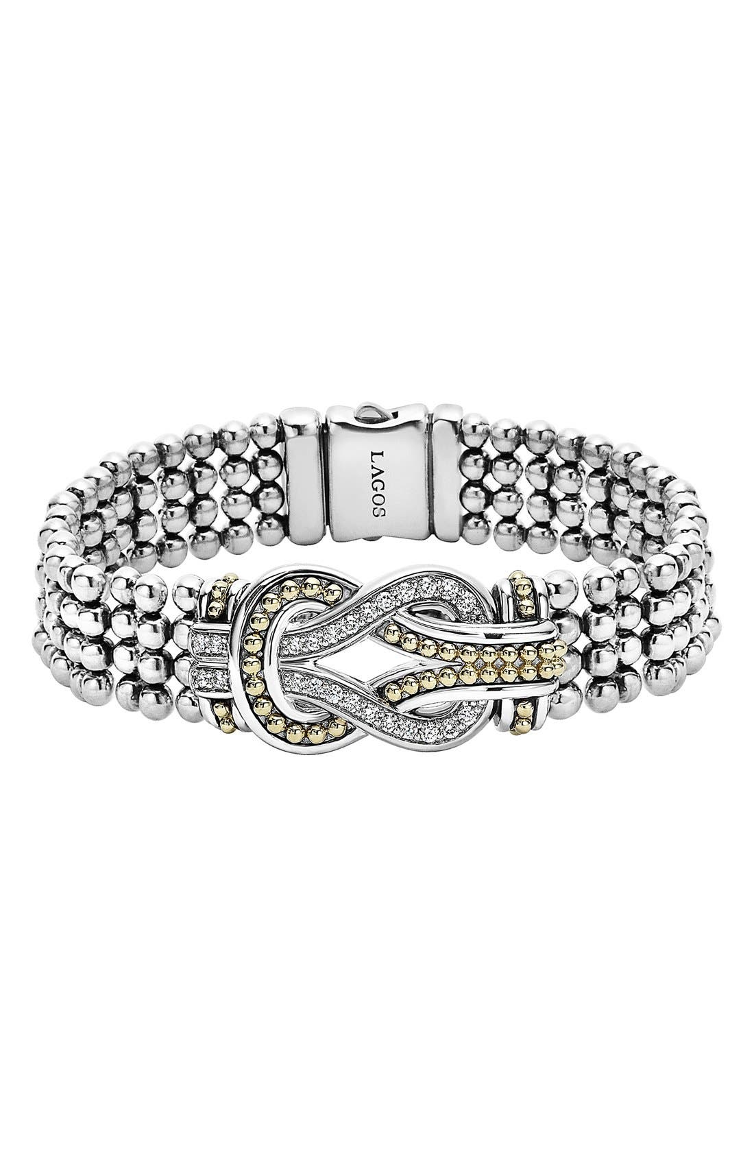 Main Image - LAGOS 'Newport' Diamond Knot Flat Caviar Bracelet