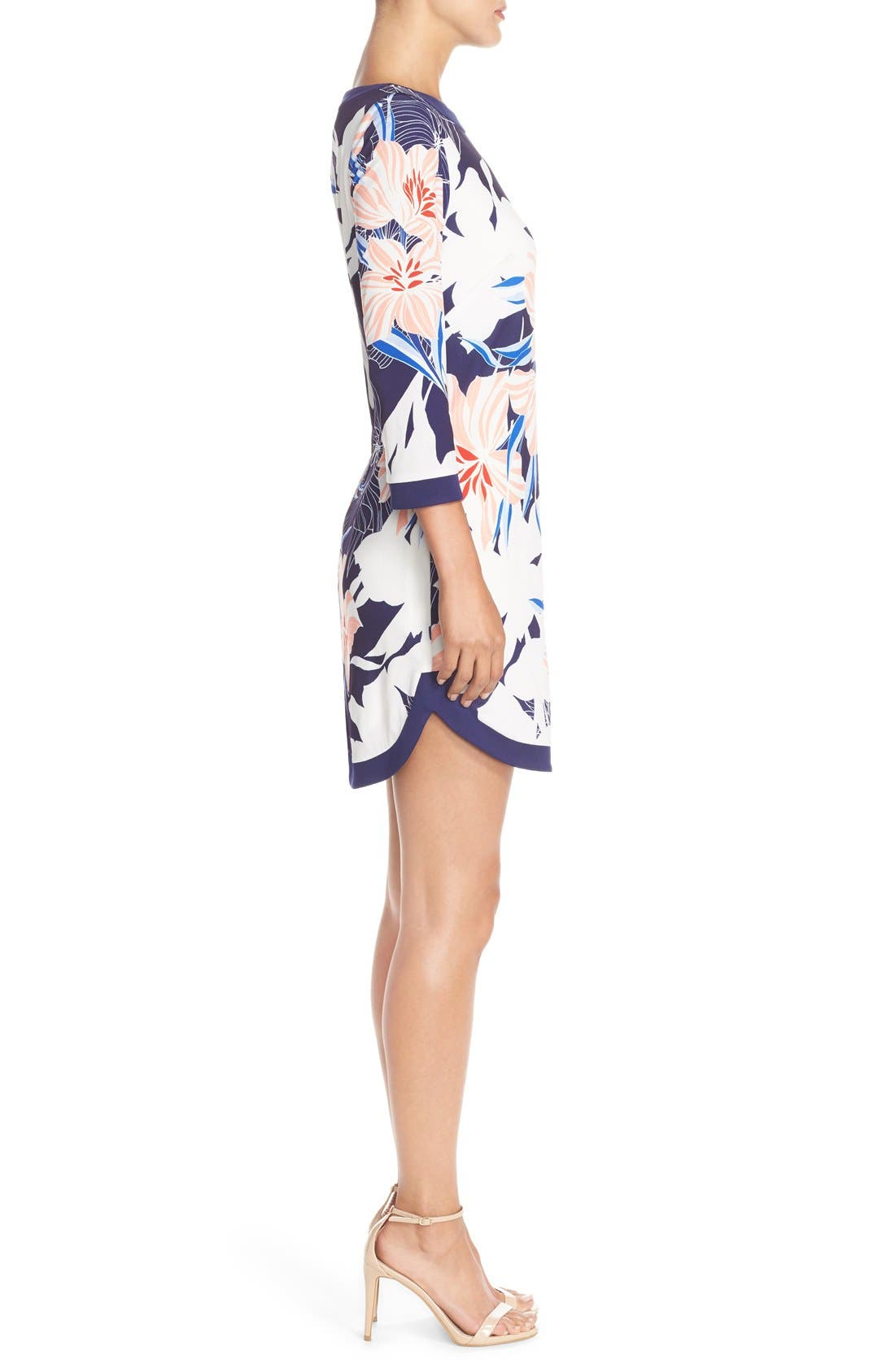 Floral Jersey Shift Dress,                             Alternate thumbnail 3, color,                             Navy