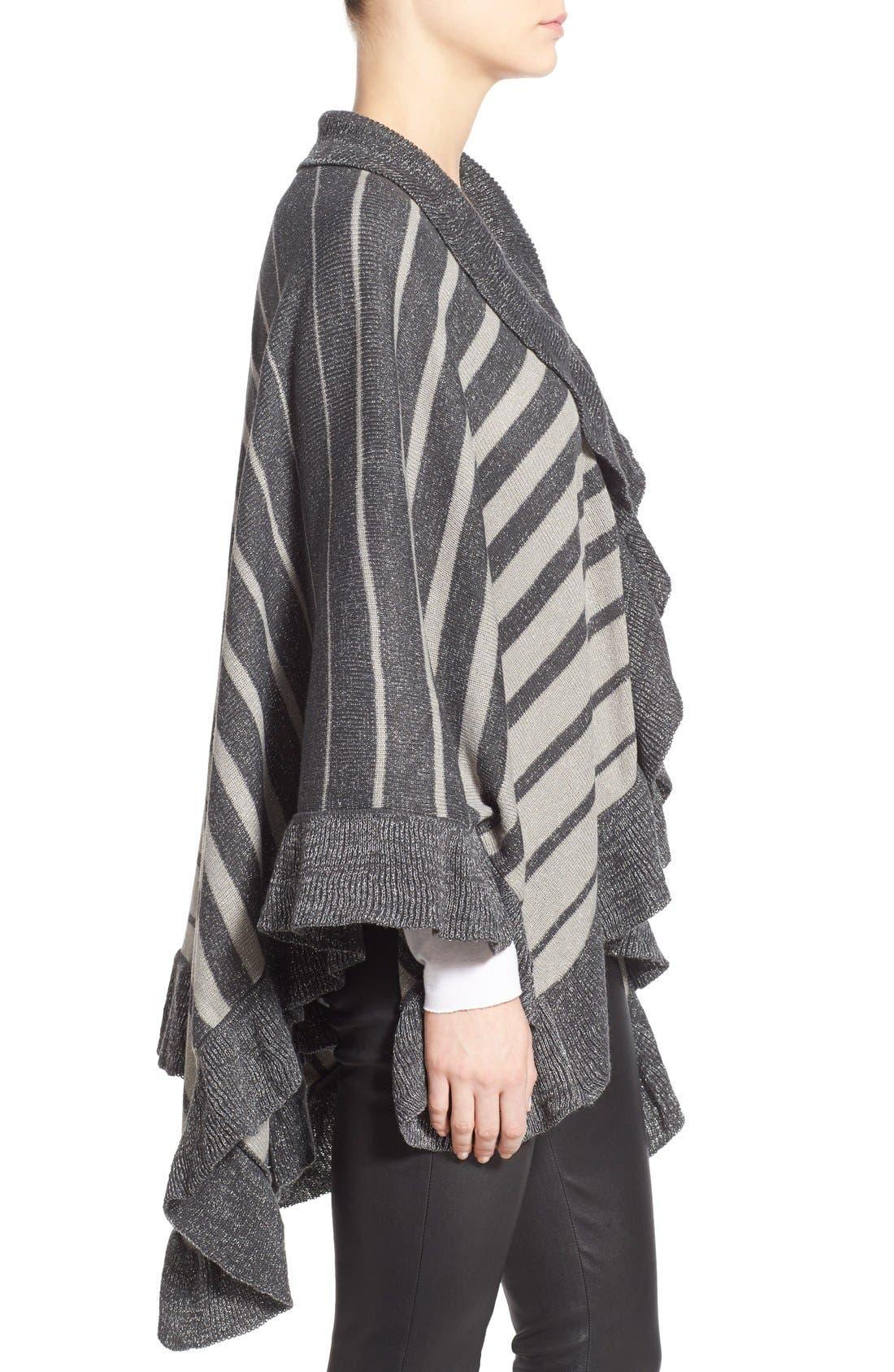 Stripe Shawl,                             Alternate thumbnail 4, color,                             Grey/ Ivory
