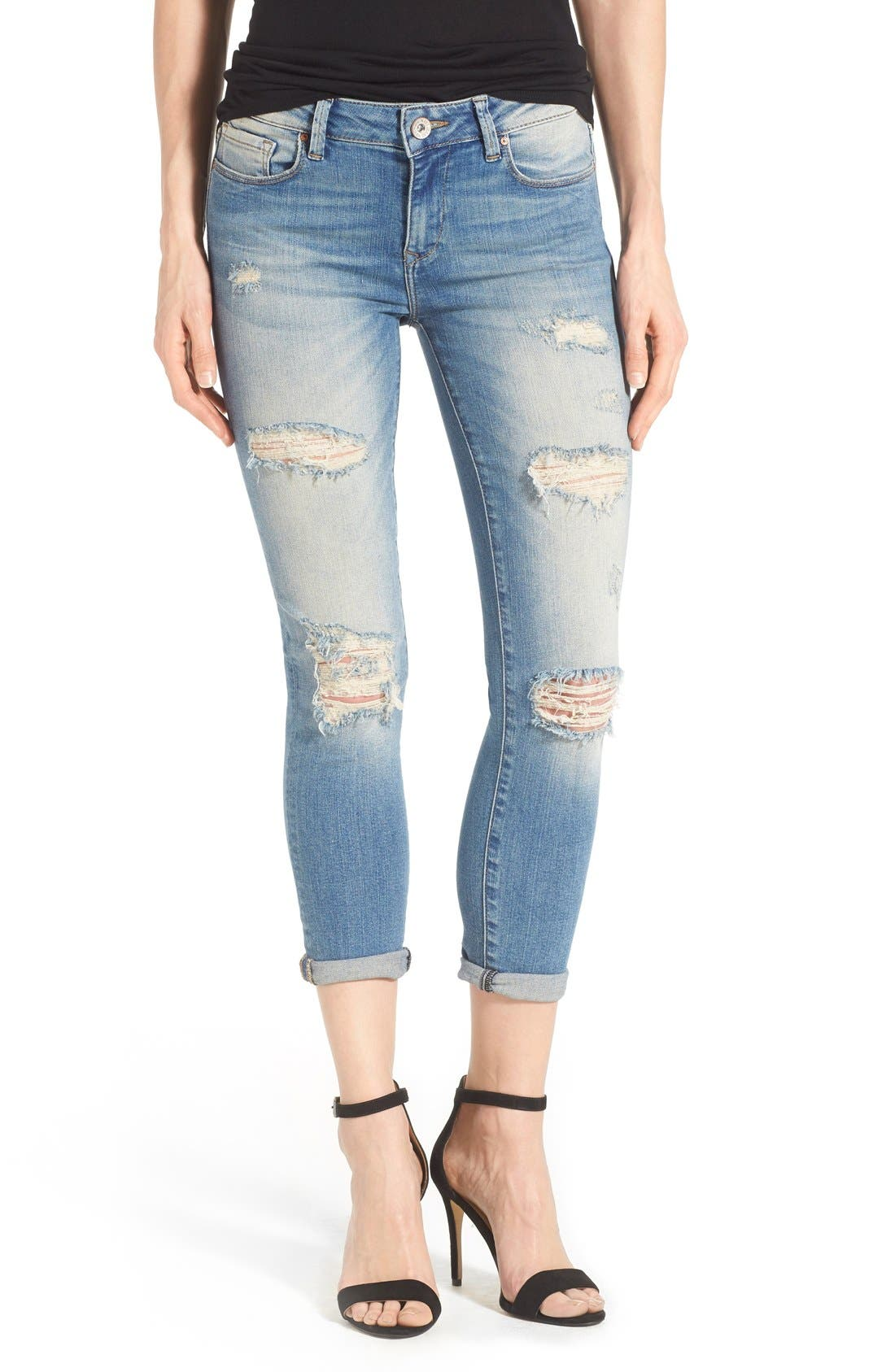 Alternate Image 1 Selected - Mavi Jeans 'Ada' Destroyed Stretch Boyfriend Jeans (Ripped Vintage)