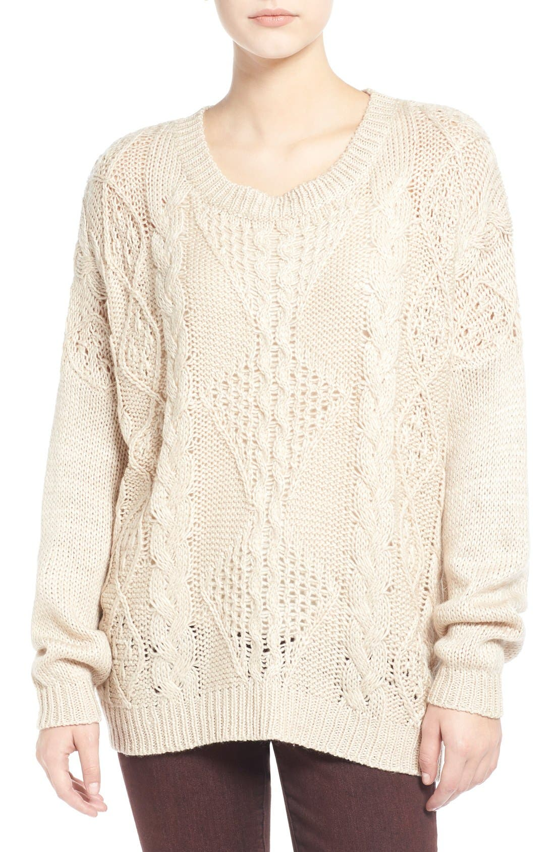 Alternate Image 1 Selected - Dreamers by Debut Cable Front Sweater