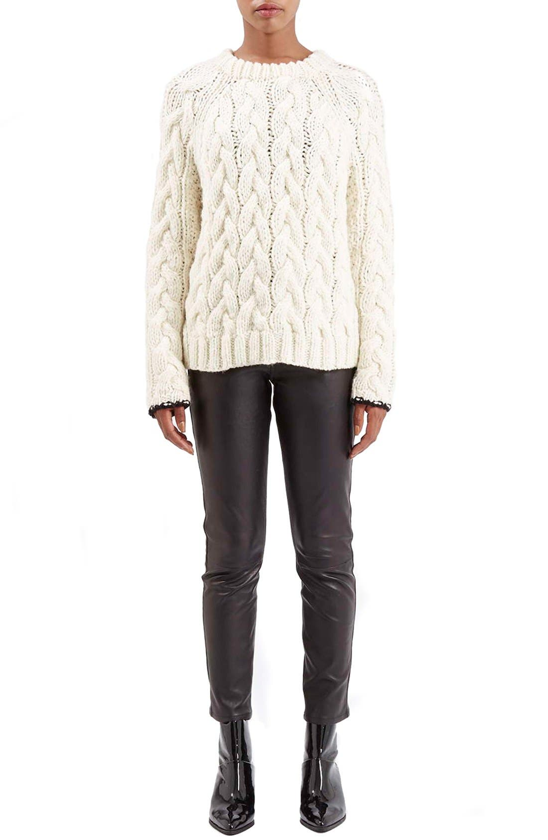 Alternate Image 6  - Topshop Boutique Chunky Cable Knit Sweater