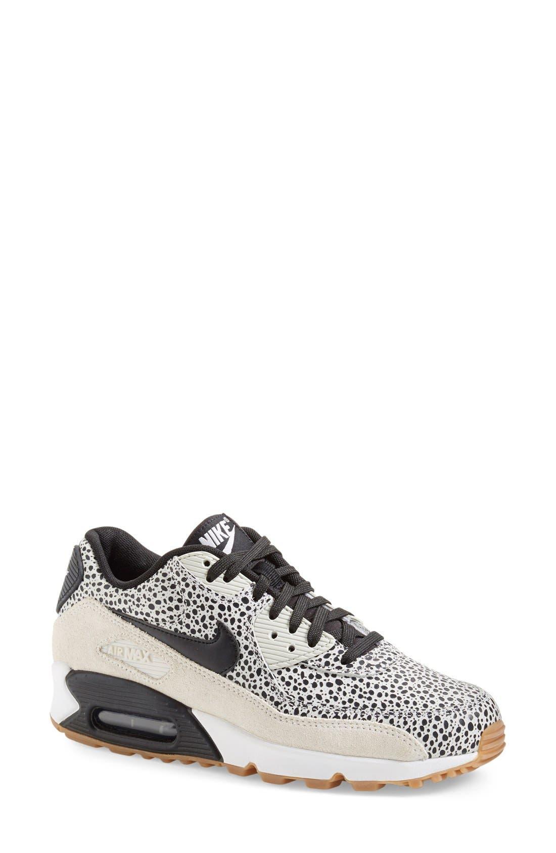 'Air Max 90 - Premium' Sneaker,                             Main thumbnail 1, color,                             White/ Black/ Brown