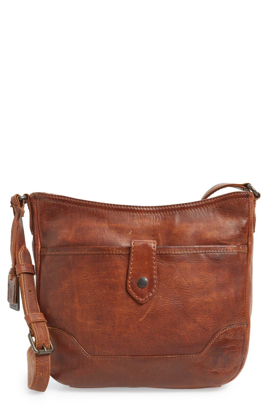 Melissa Button Crossbody Bag,                             Main thumbnail 1, color,                             Cognac