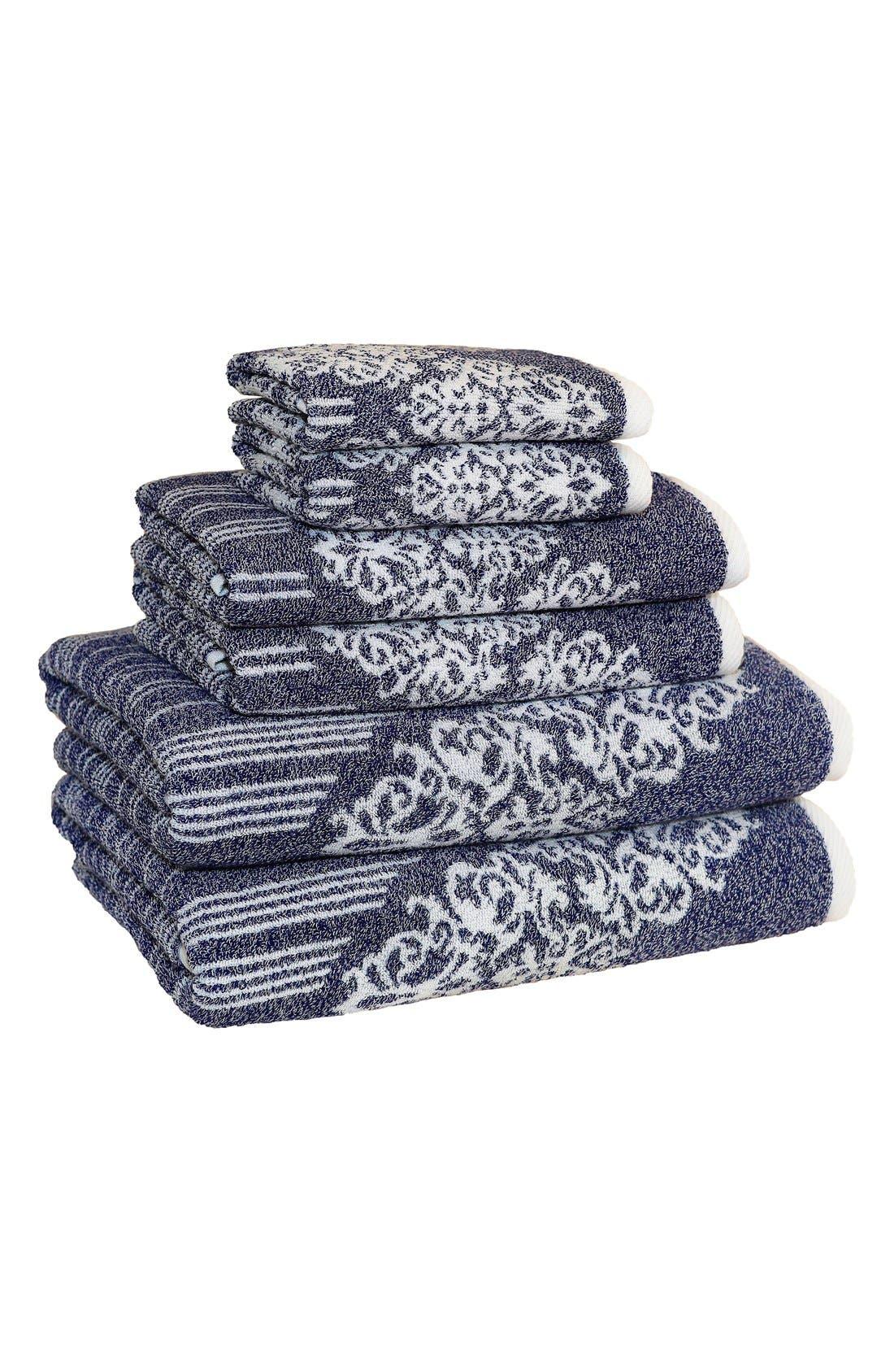 Linum 'Gioia' Bath Towels, Hand Towels & Washcloths,                             Main thumbnail 1, color,                             Ocean Blue