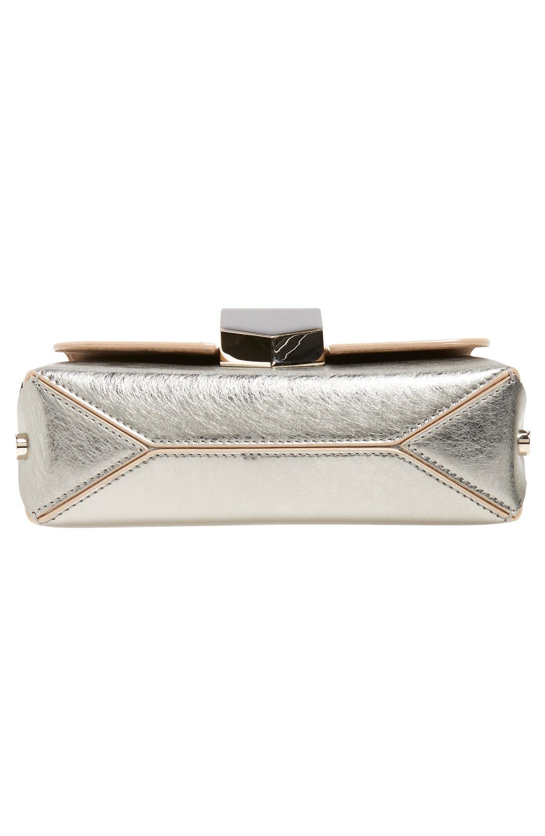 'Lockett Petite' Metallic Leather Shoulder Bag,                             Alternate thumbnail 6, color,                             Vintage Silver