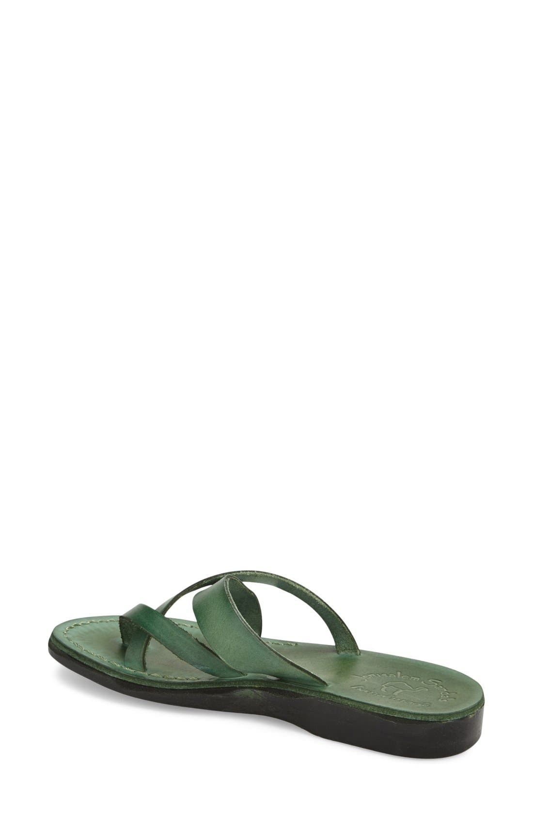 'Abigail' Strappy Slide Sandal,                             Alternate thumbnail 2, color,                             Green Leather