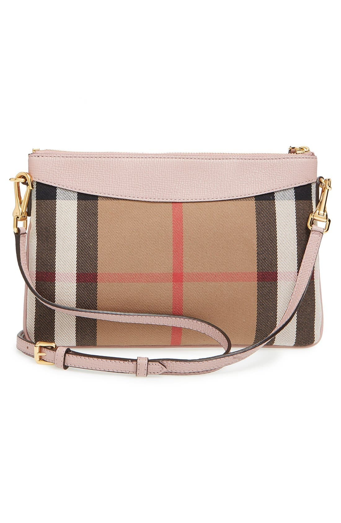 'Peyton - House Check' Crossbody Bag,                             Alternate thumbnail 3, color,                             Pale Orchid