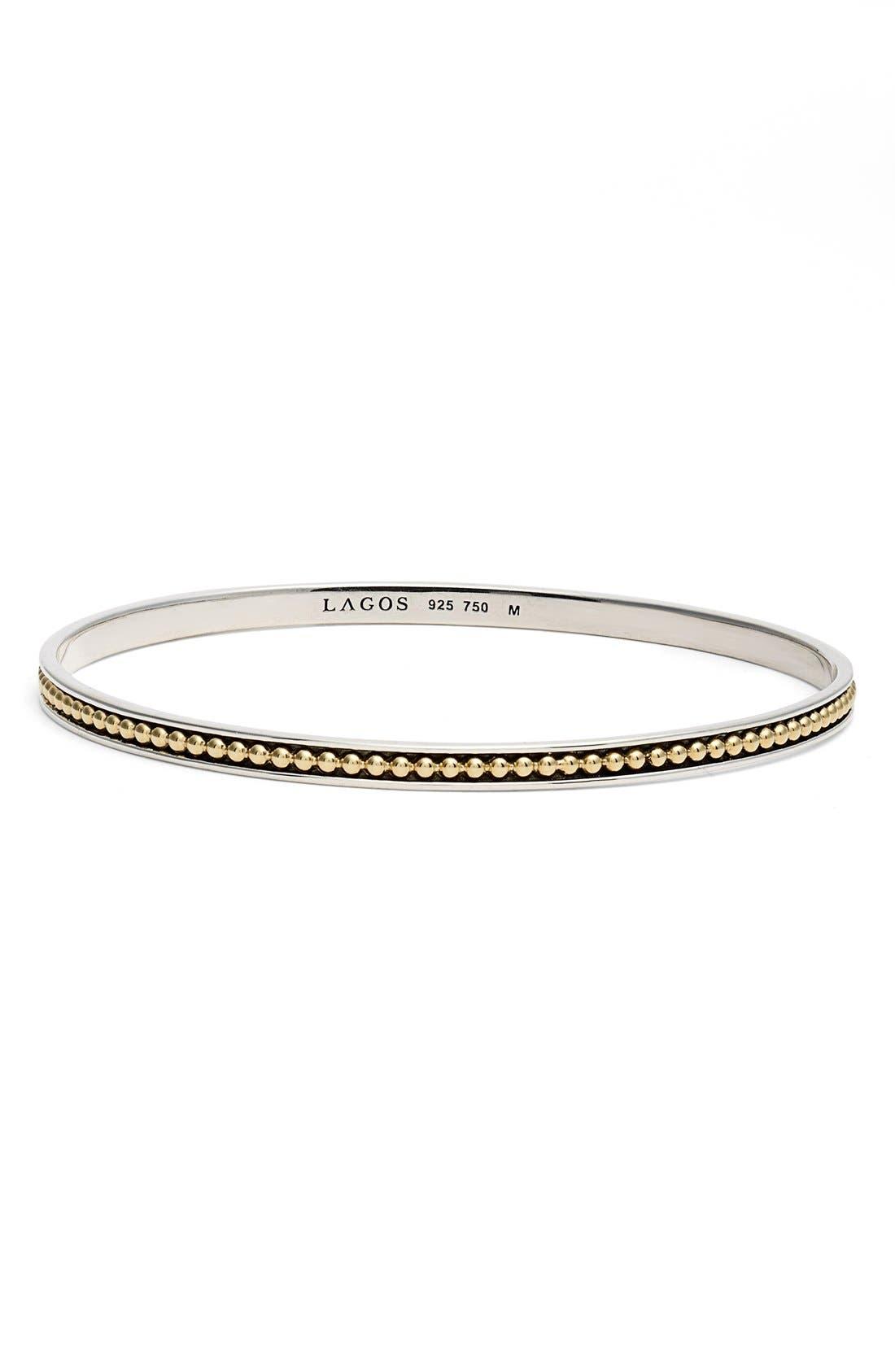 'Enso' Caviar Bangle,                         Main,                         color, Silver/ Gold