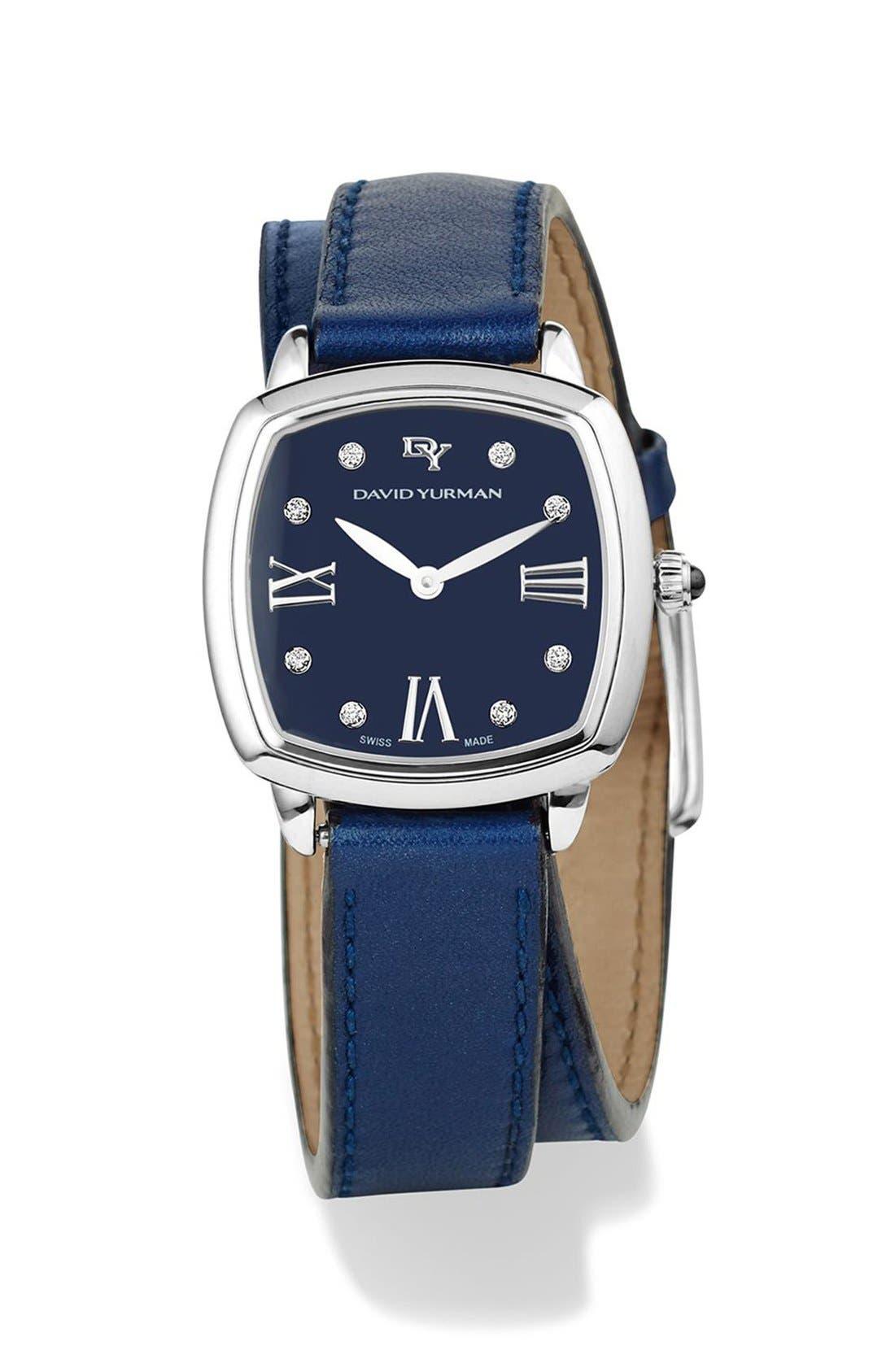 'Albion' 27mm Leather Swiss Quartz Watch with Diamonds,                         Main,                         color, Blue