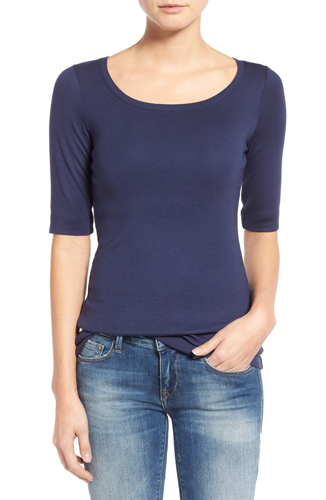 Main Image - Caslon® Ballet Neck Cotton & Modal Knit Elbow Sleeve Tee (Regular & Petite)