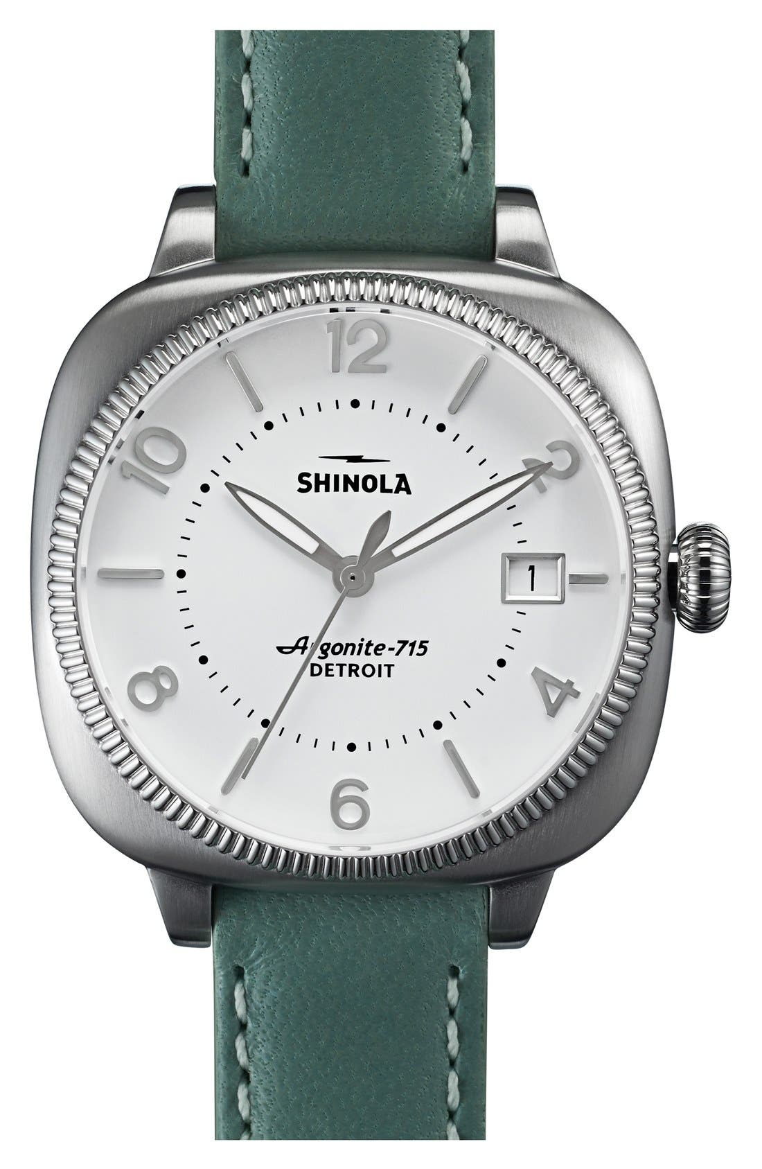 Alternate Image 1 Selected - Shinola The Gomelsky Square Leather Strap Watch, 36mm