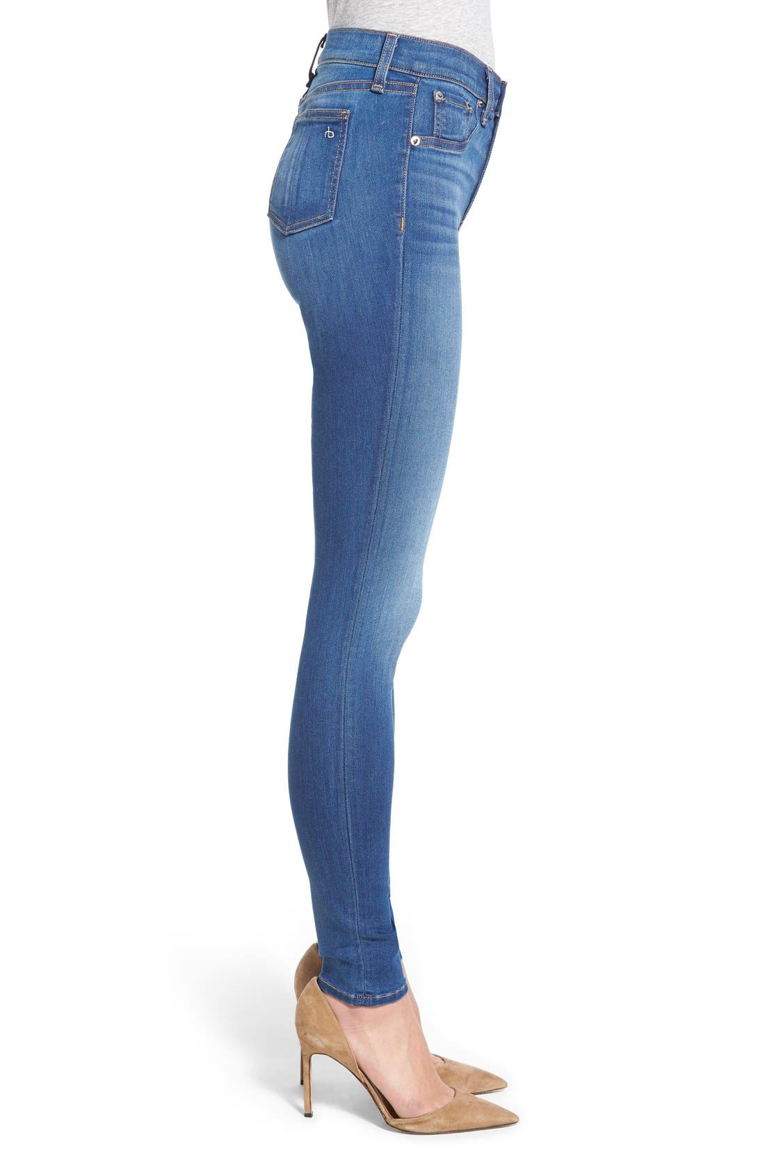 Alternate Image 3  - rag & bone/JEAN High Rise Skinny Jeans (Houston)