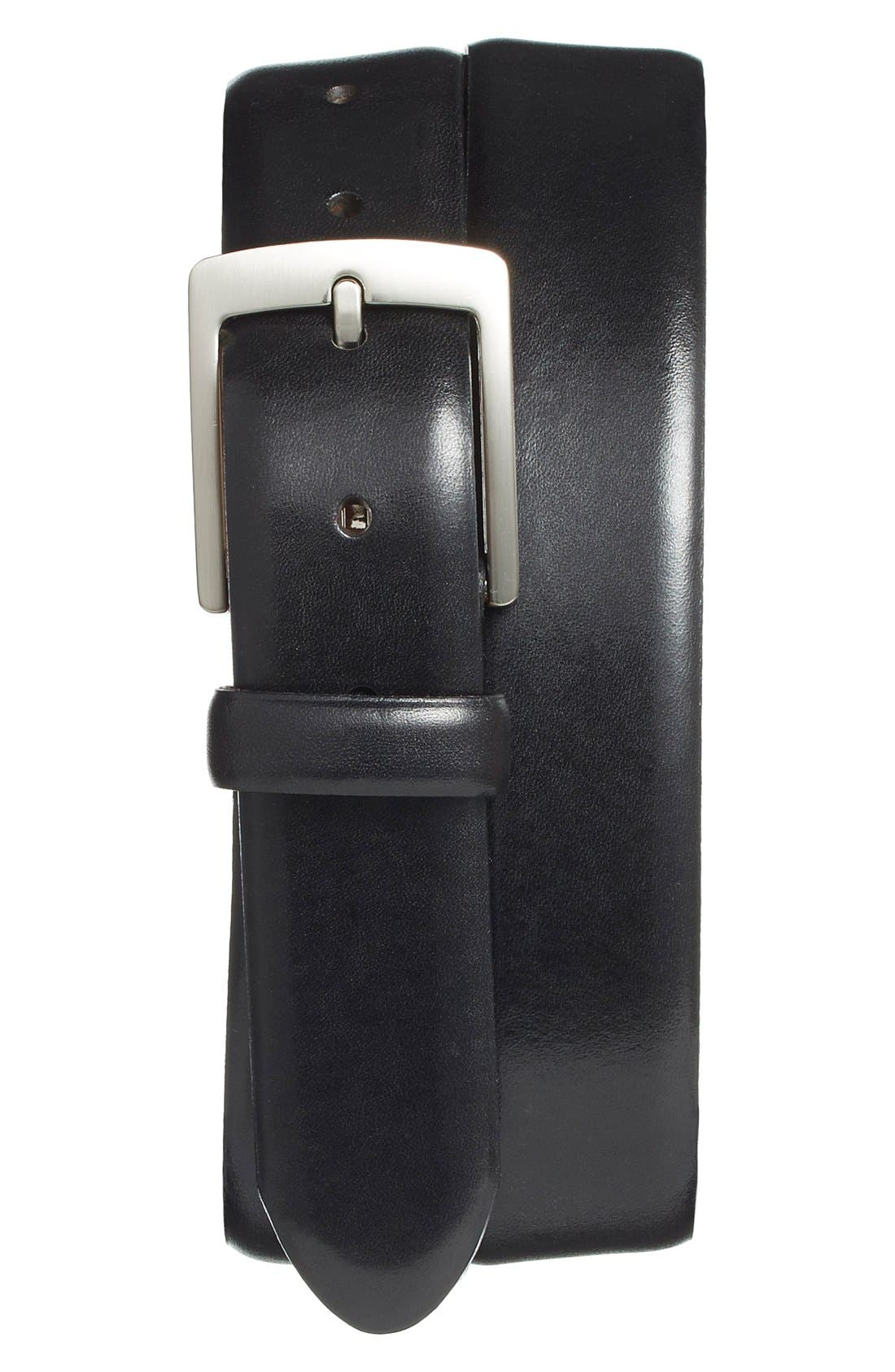 Leather Dress Belt,                             Main thumbnail 1, color,                             Black Old Leather
