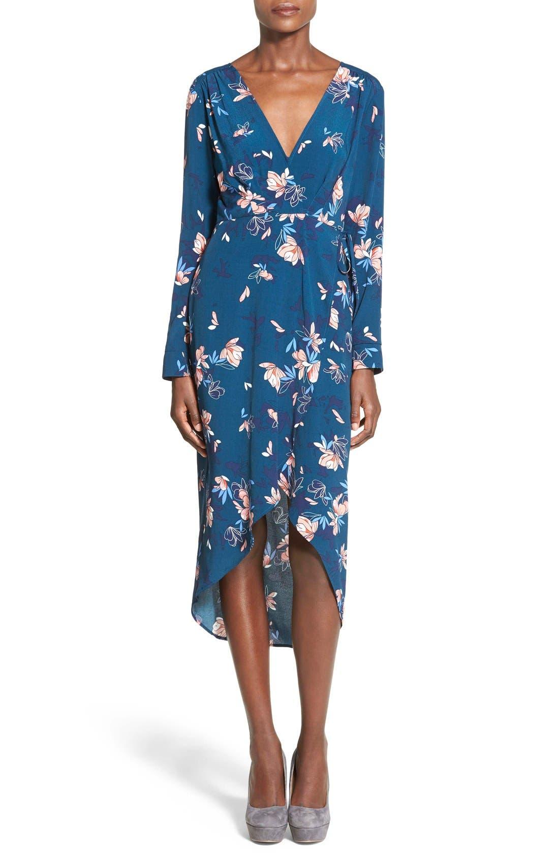 ASTR Wrap Front High/Low Dress,                             Main thumbnail 1, color,                             Teal Multi Floral