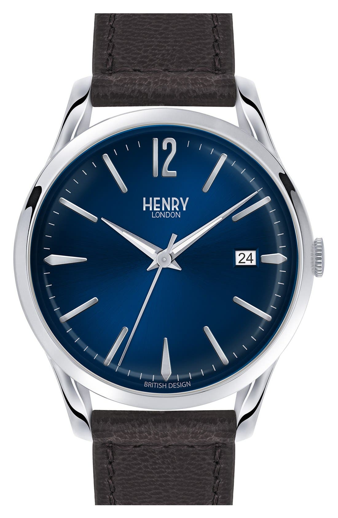 Henry London 'Knightsbridge' Leather Strap Watch, 38mm