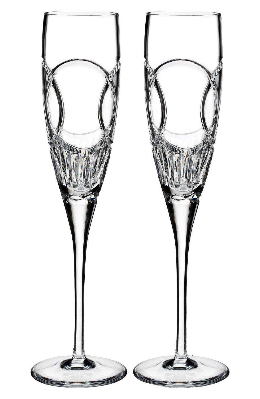 'Wedding Vows' Lead Crystal Champagne Flutes,                         Main,                         color, Clear