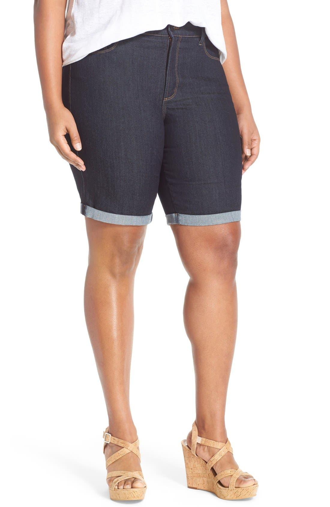 'Briella' Stretch Roll Cuff Denim Shorts,                         Main,                         color, Dark Enzyme Contrast Stitch