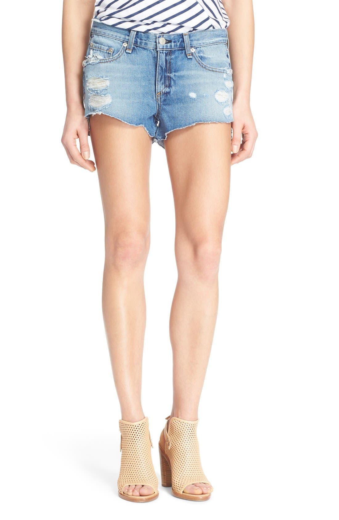 Destroyed Cutoff Denim Shorts,                         Main,                         color, Gunner