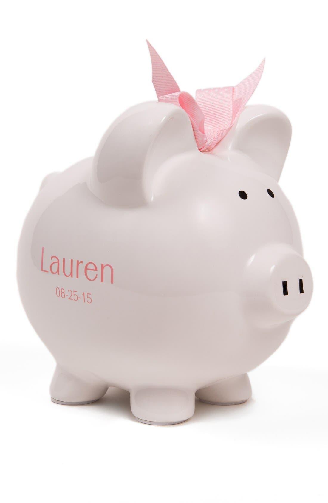 Personalized Piggy Bank,                             Main thumbnail 1, color,                             White