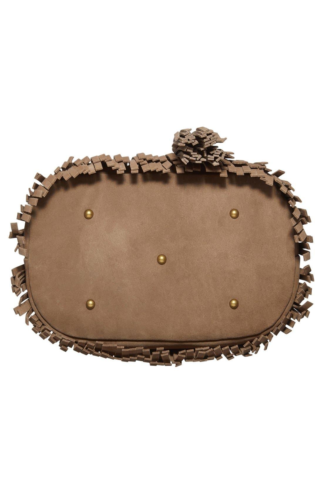 'Heidi' Fringe Suede Bucket Bag,                             Alternate thumbnail 6, color,                             Grey