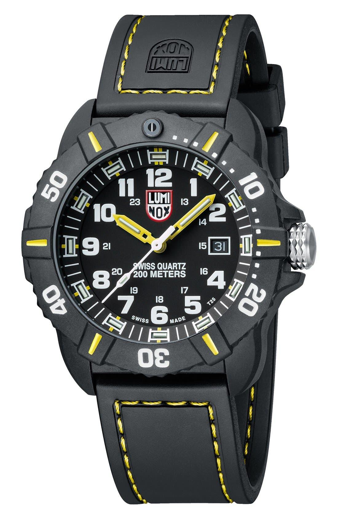 'Coronado' Rubber Strap Watch, 44mm,                             Alternate thumbnail 2, color,                             Black/ Yellow