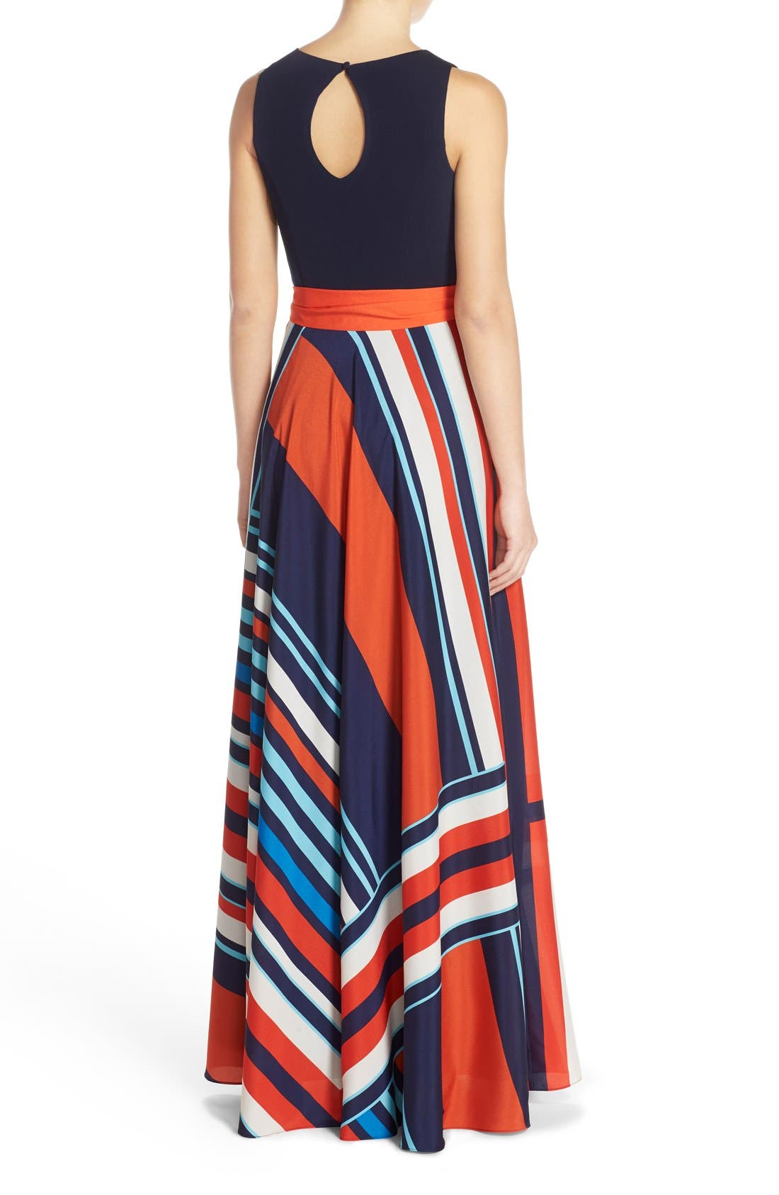 Jersey & Stripe Maxi Dress,                             Alternate thumbnail 2, color,                             Navy/ Red
