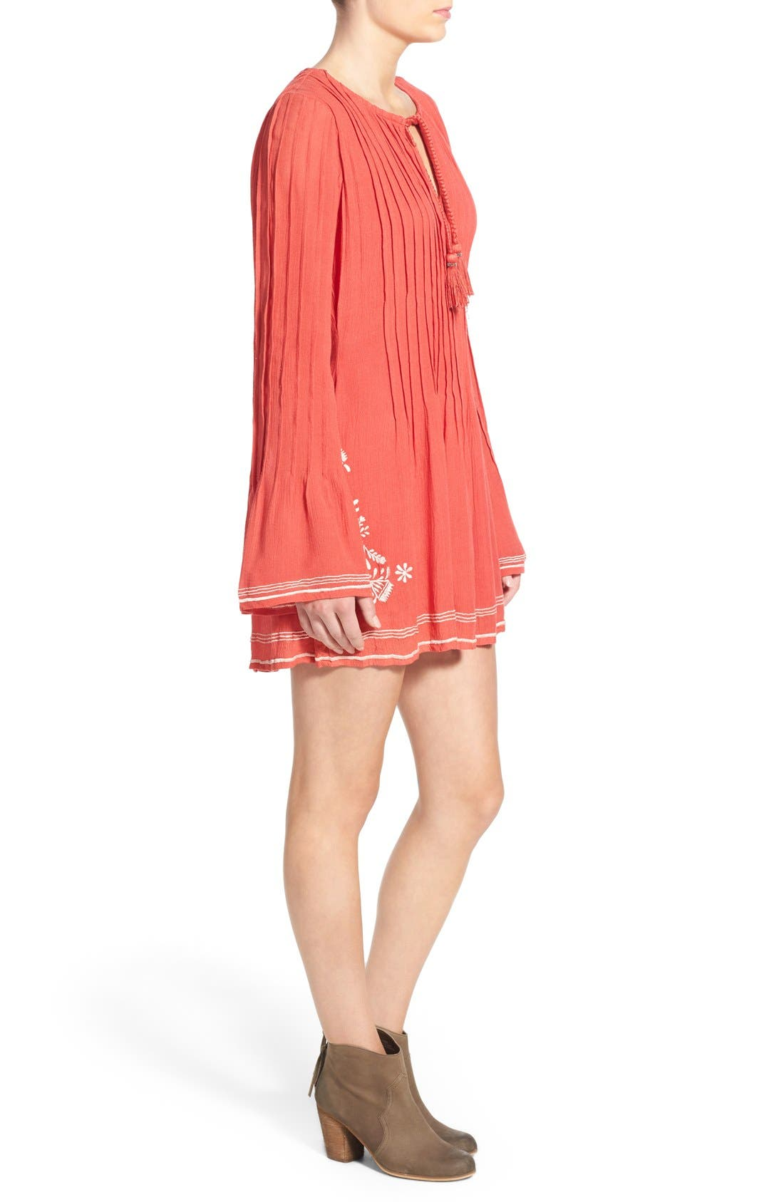 'Audrey' Embroidered Tunic Dress,                             Alternate thumbnail 4, color,                             Watermelon