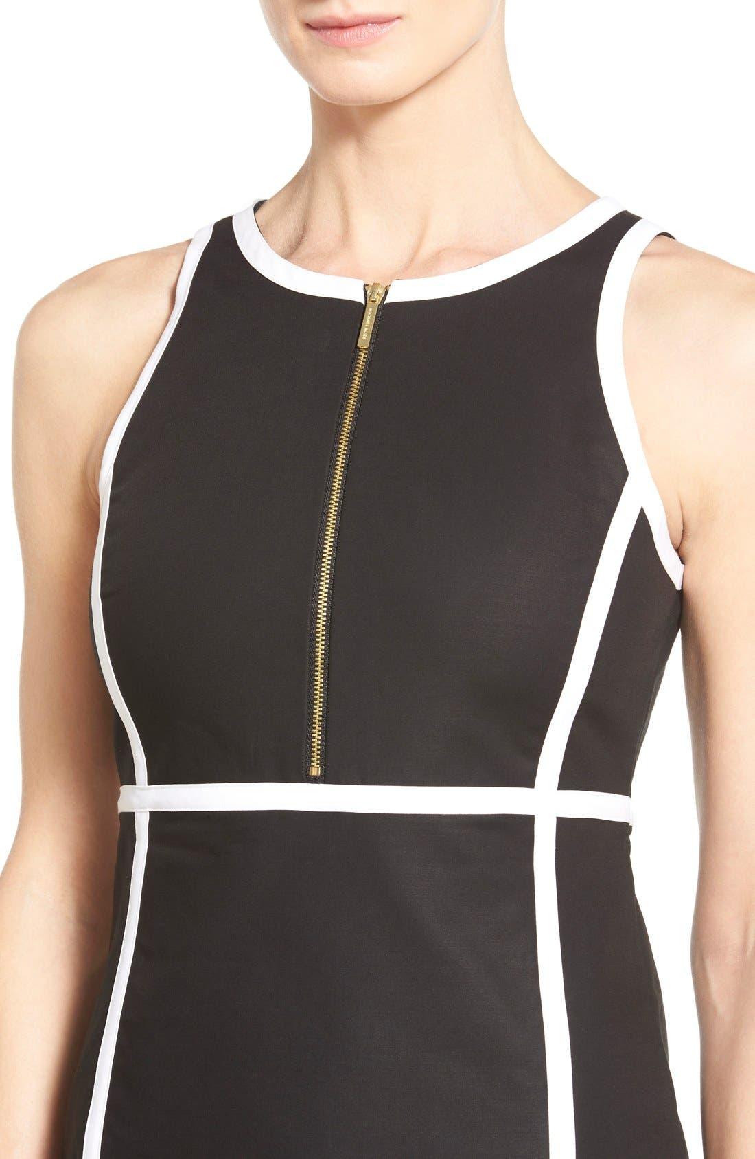 Alternate Image 4  - MICHAEL Michael Kors Contrast Trim Front Zip Sheath Dress (Regular & Petite)