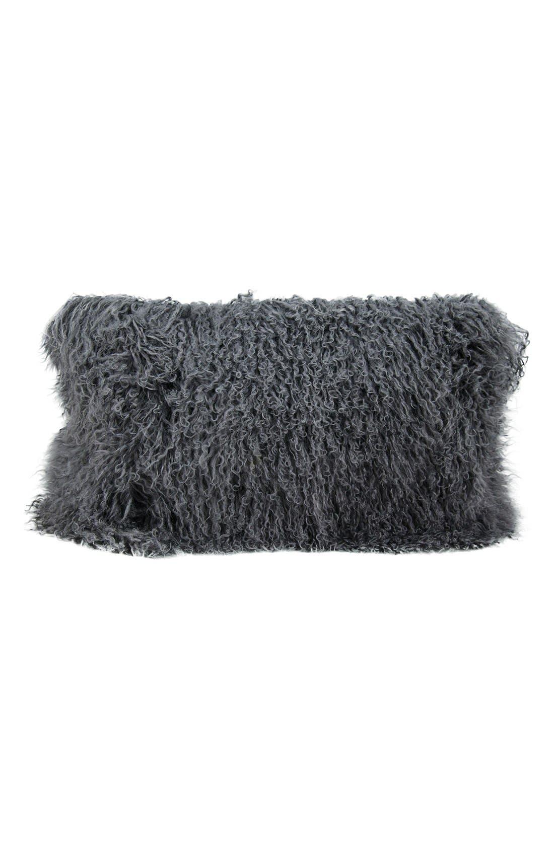 Genuine Tibetan Shearling Pillow,                             Main thumbnail 1, color,                             Silver/ Grey