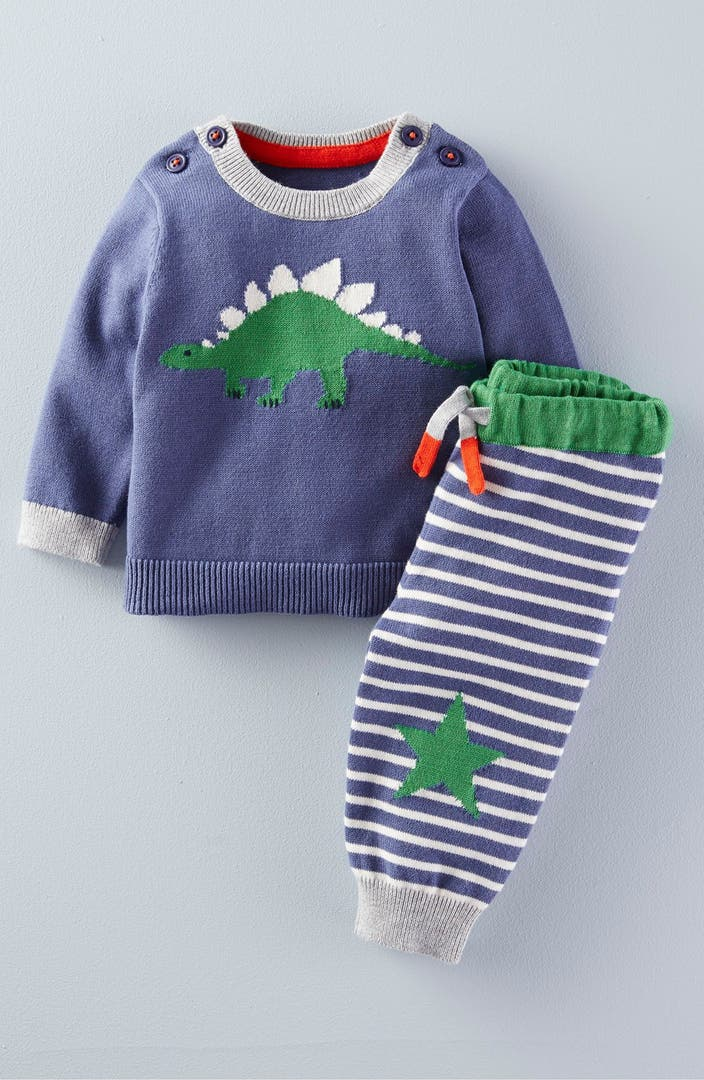 Mini boden 39 dinosaur 39 knit sweater pants set baby boys for Shop mini boden