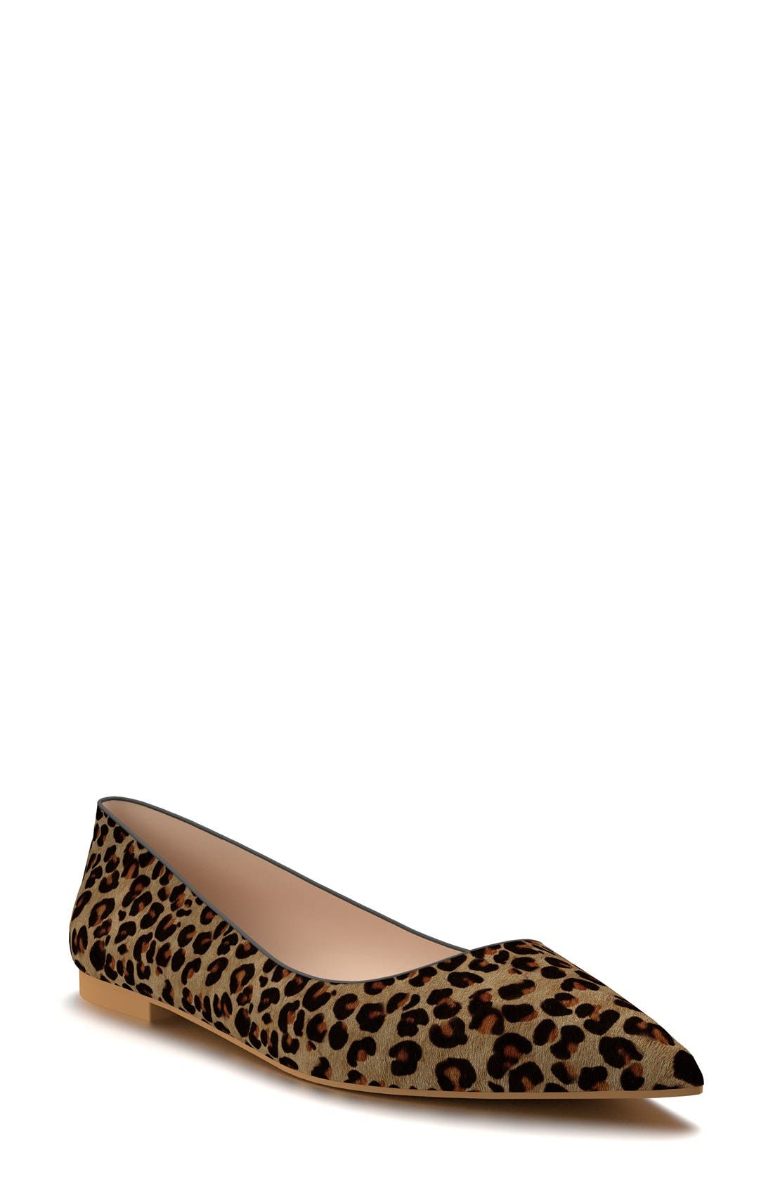 Pointy Toe Flat,                             Main thumbnail 1, color,                             Leopard Hair