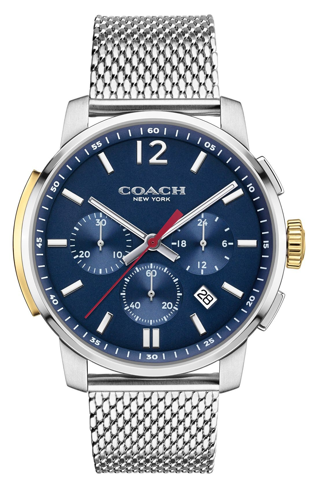 Alternate Image 1 Selected - Coach 'Bleeker' Chronograph Mesh Strap Watch, 42mm