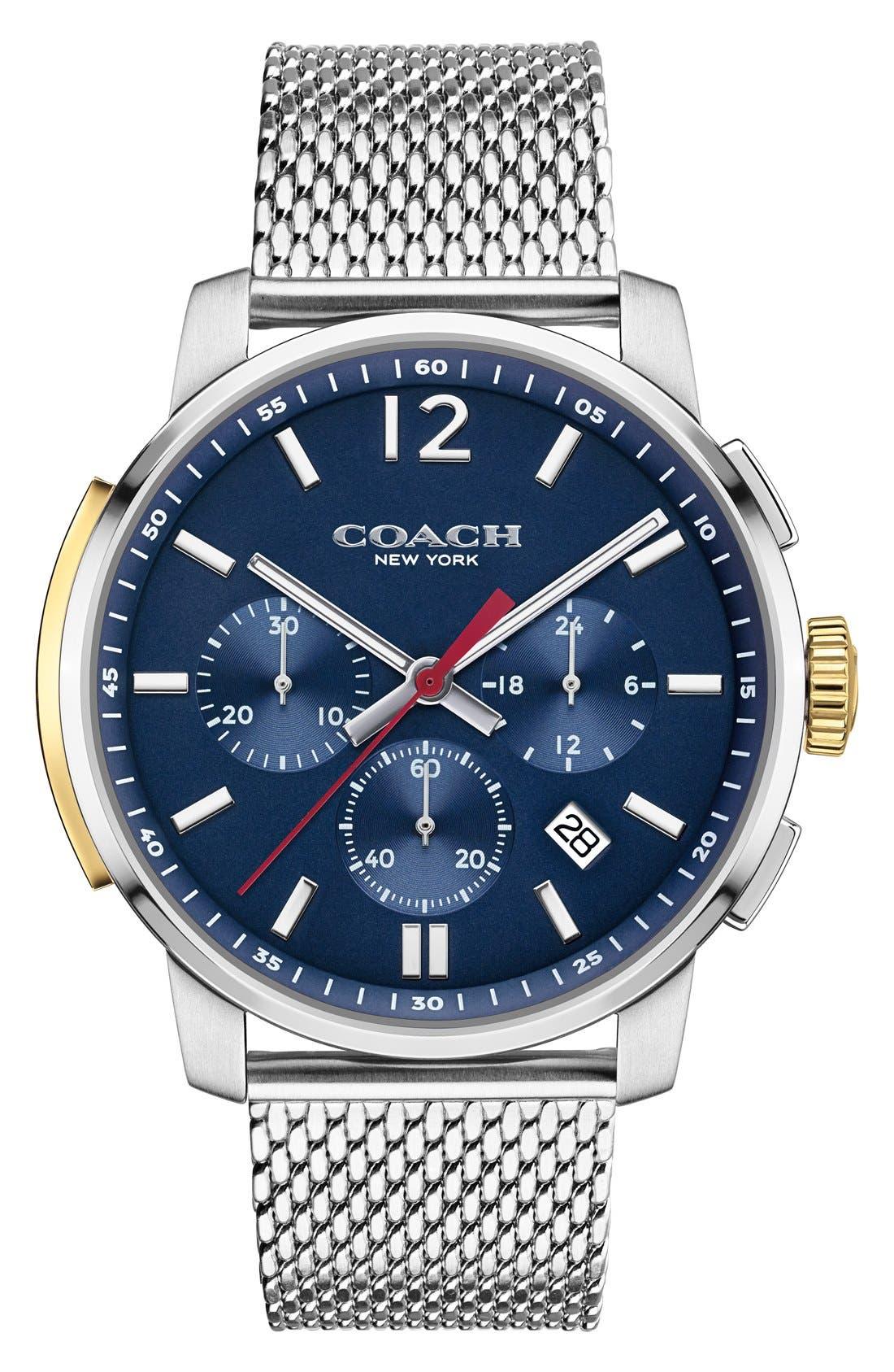 Coach 'Bleeker' Chronograph Mesh Strap Watch, 42mm