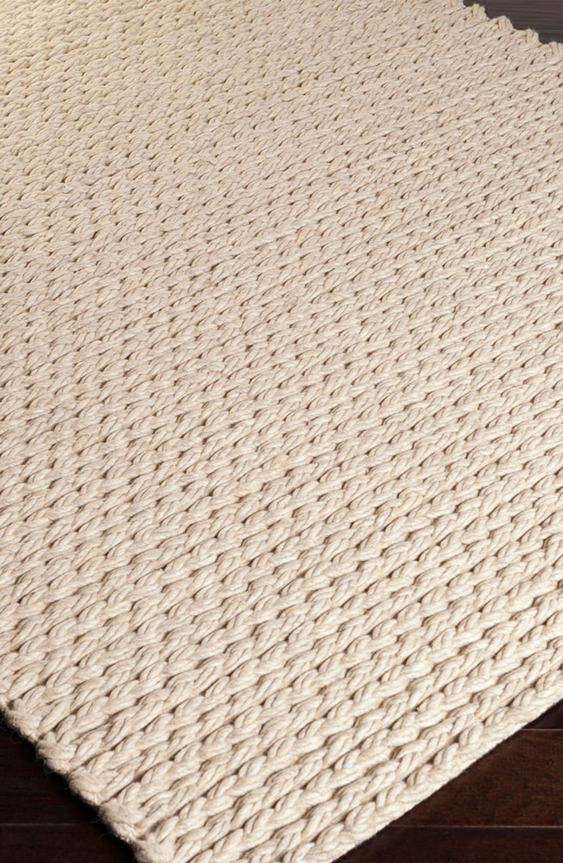 'Yukon' Hand Woven Wool Rug,                             Alternate thumbnail 3, color,                             Beige