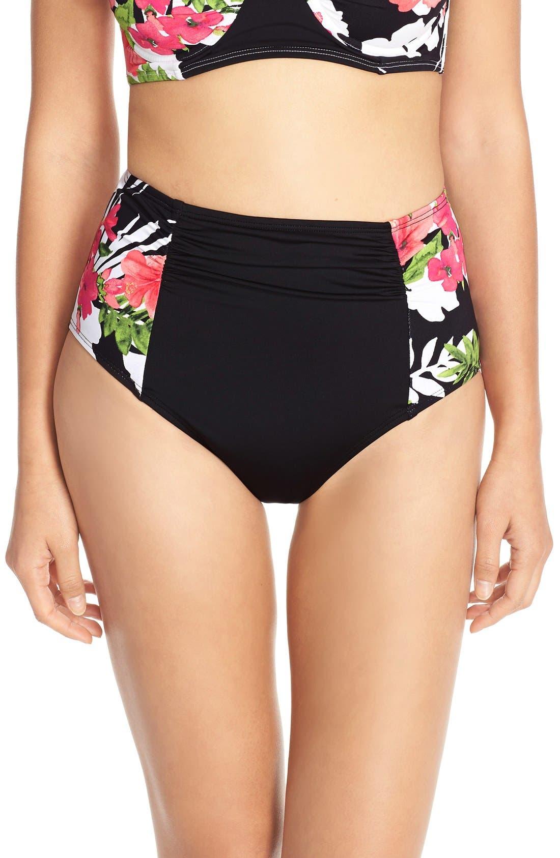 Main Image - Tommy Bahama 'Victory Blooms' High-Waist Bikini Bottoms