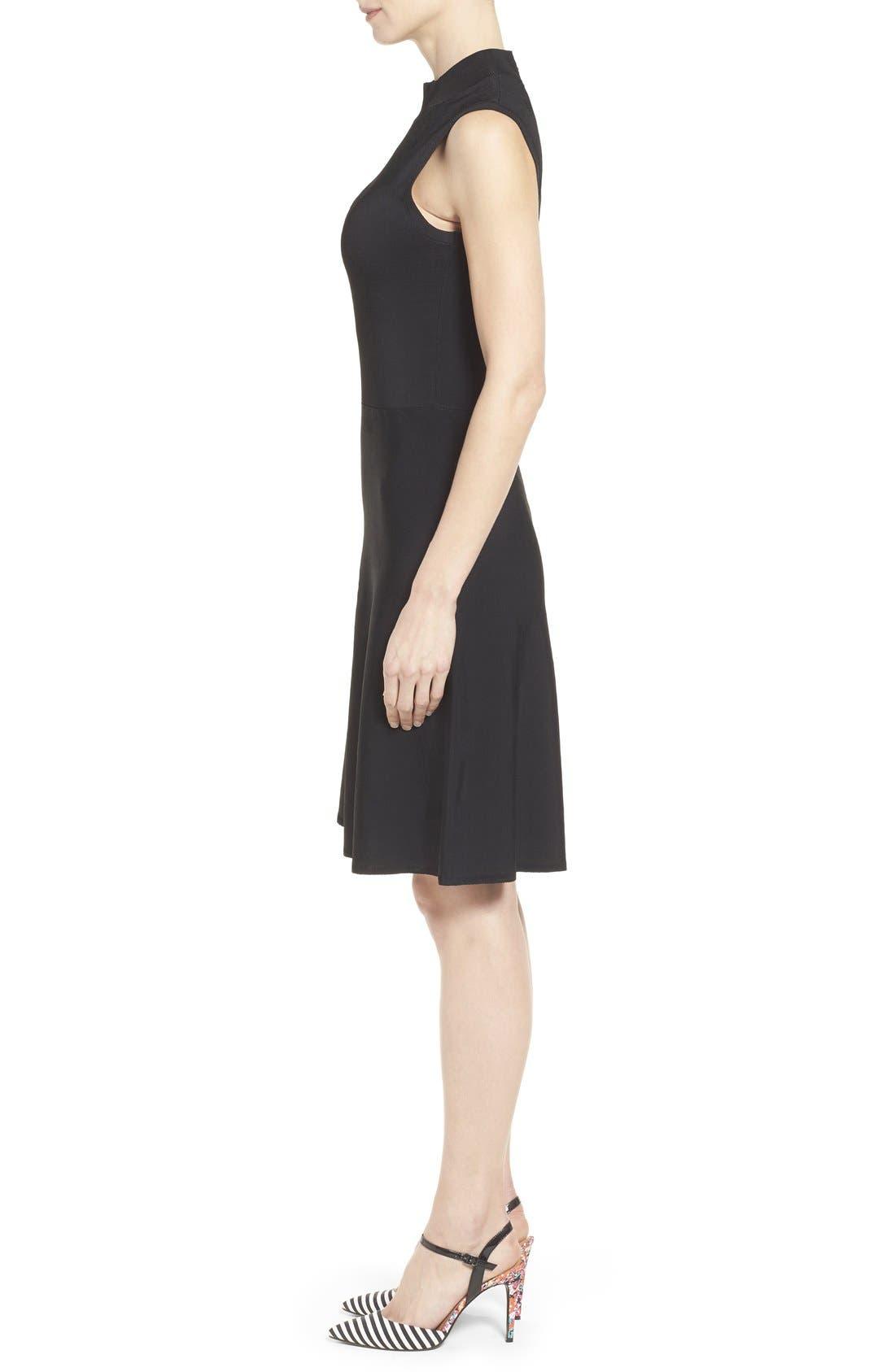 Alternate Image 3  - Halogen® Mock Neck A-Line Dress (Regular & Petite)