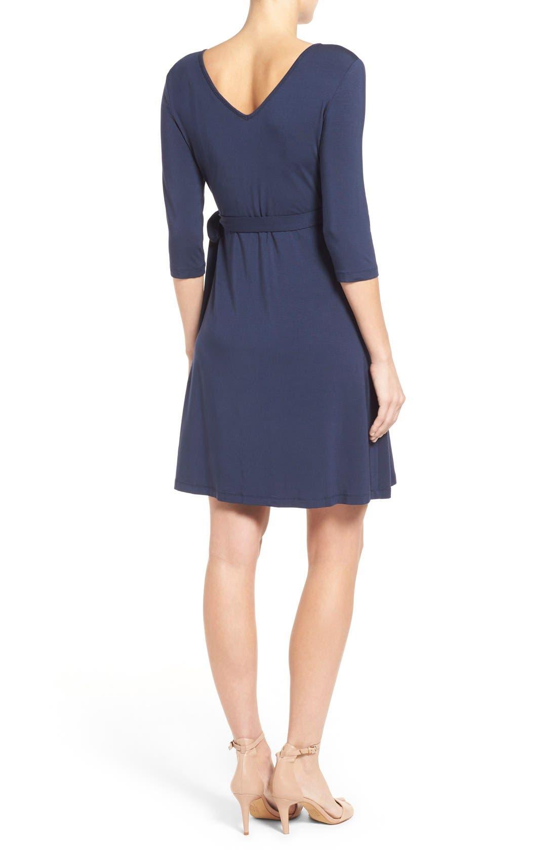 'Rhiannon' Turtleneck Fit & Flare Maternity Dress,                             Alternate thumbnail 2, color,                             Peacoat