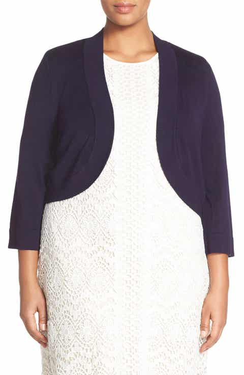 Eliza J Three Quarter Sleeve Shrug (Plus Size)