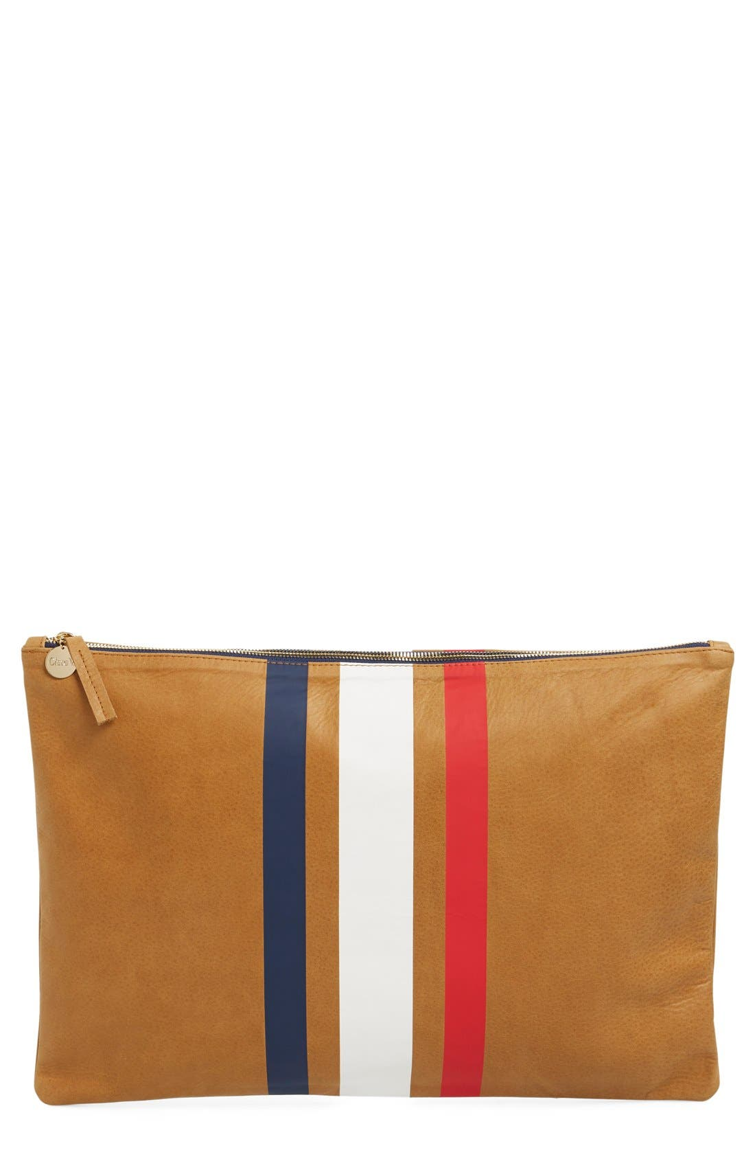 Alternate Image 1 Selected - Clare V. 'Oversize' Stripe Zip Leather Clutch