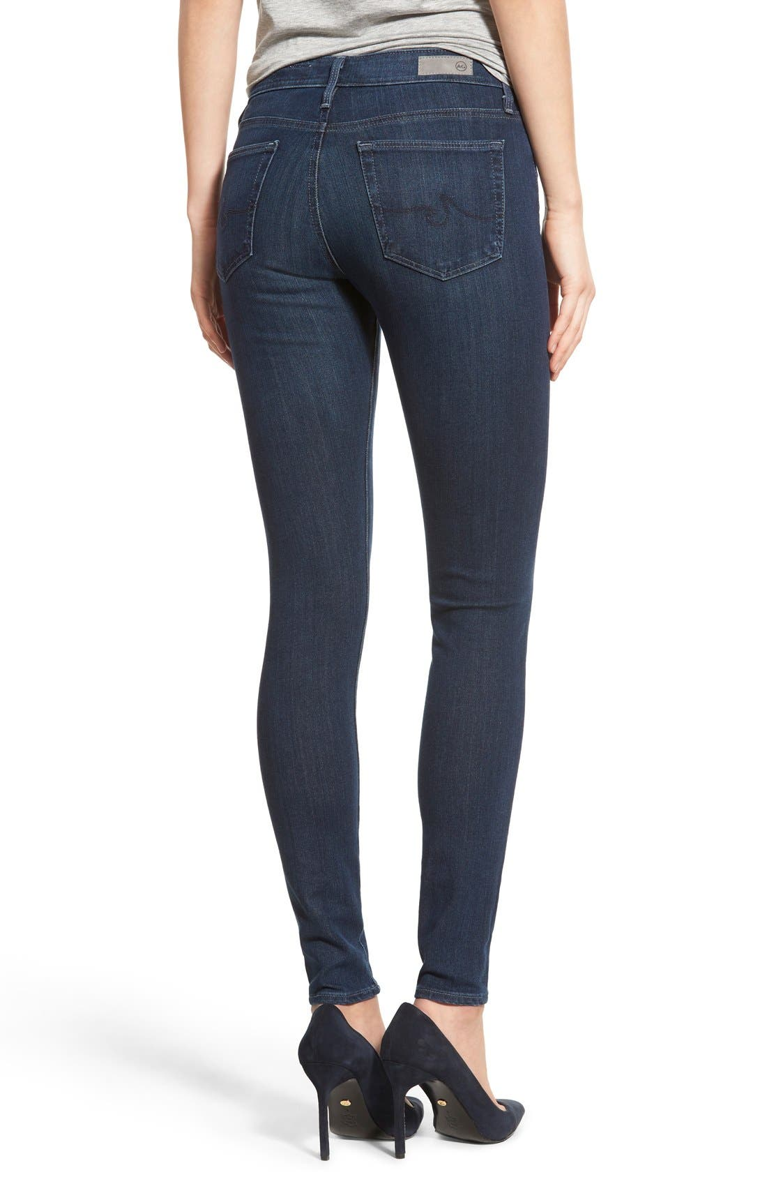 Alternate Image 2  - AG 'The Farrah' High Rise Skinny Jeans (Crater)