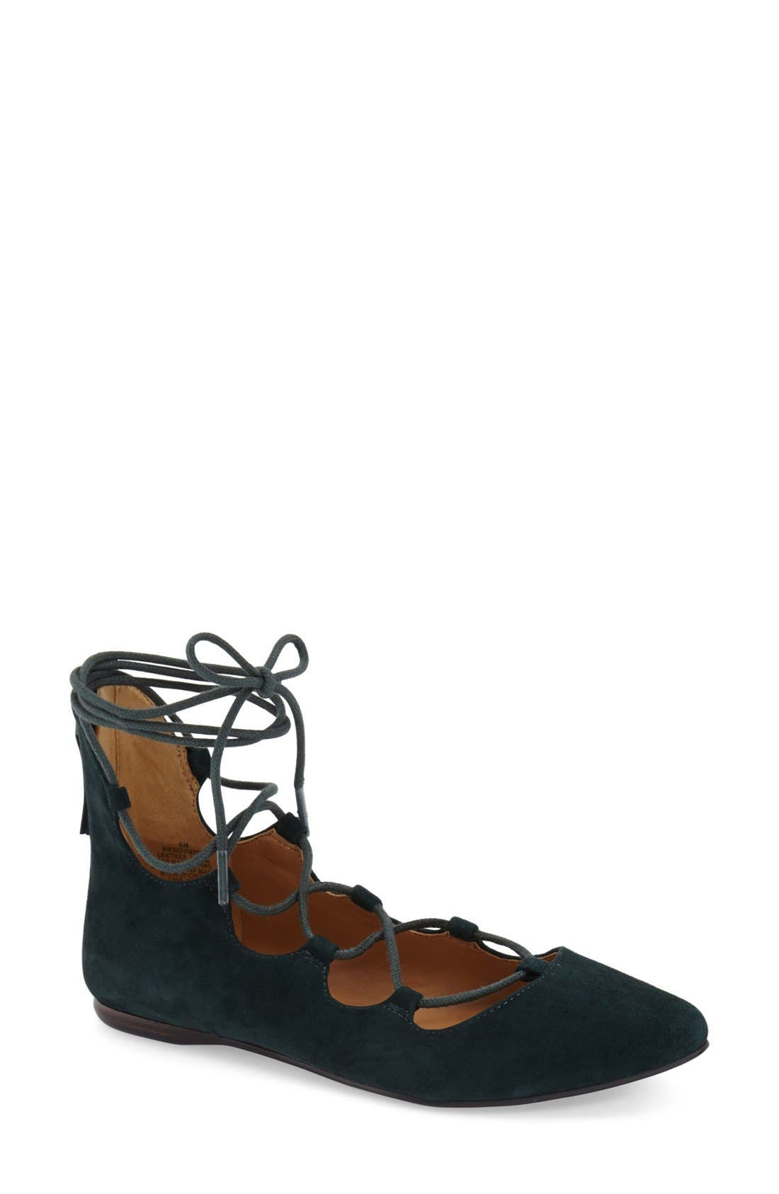 'Sign Me Up' Ghillie Flat,                             Main thumbnail 1, color,                             Dark Green Suede