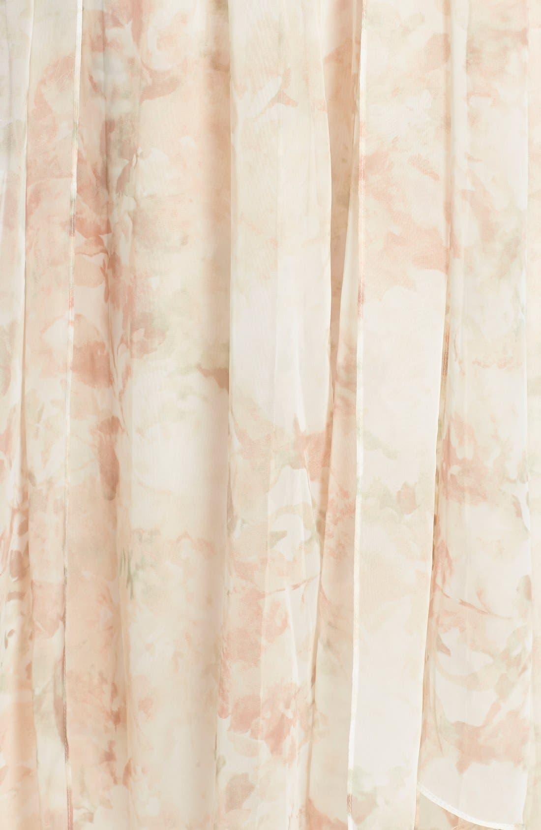 Nyla Floral Print Convertible Strapless Chiffon Gown,                             Alternate thumbnail 5, color,                             Blush Multi