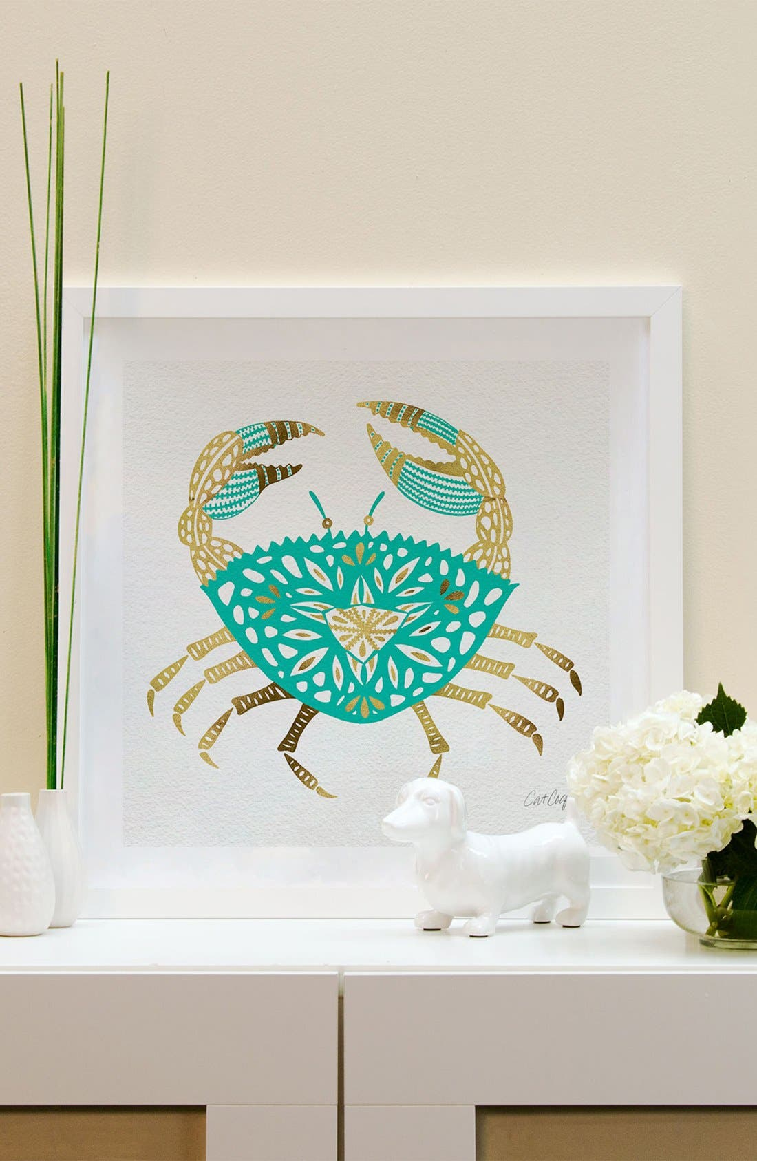 'Gold Crab' Framed Fine Art Print,                             Alternate thumbnail 2, color,                             Green