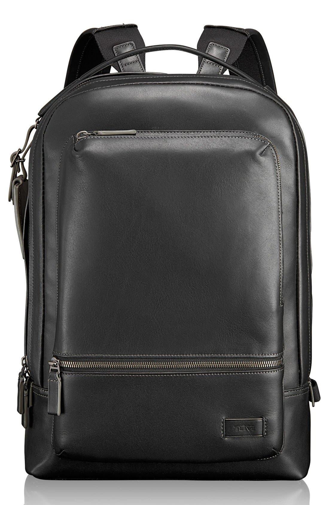 'Harrison - Bates' Leather Backpack,                             Main thumbnail 1, color,                             Black