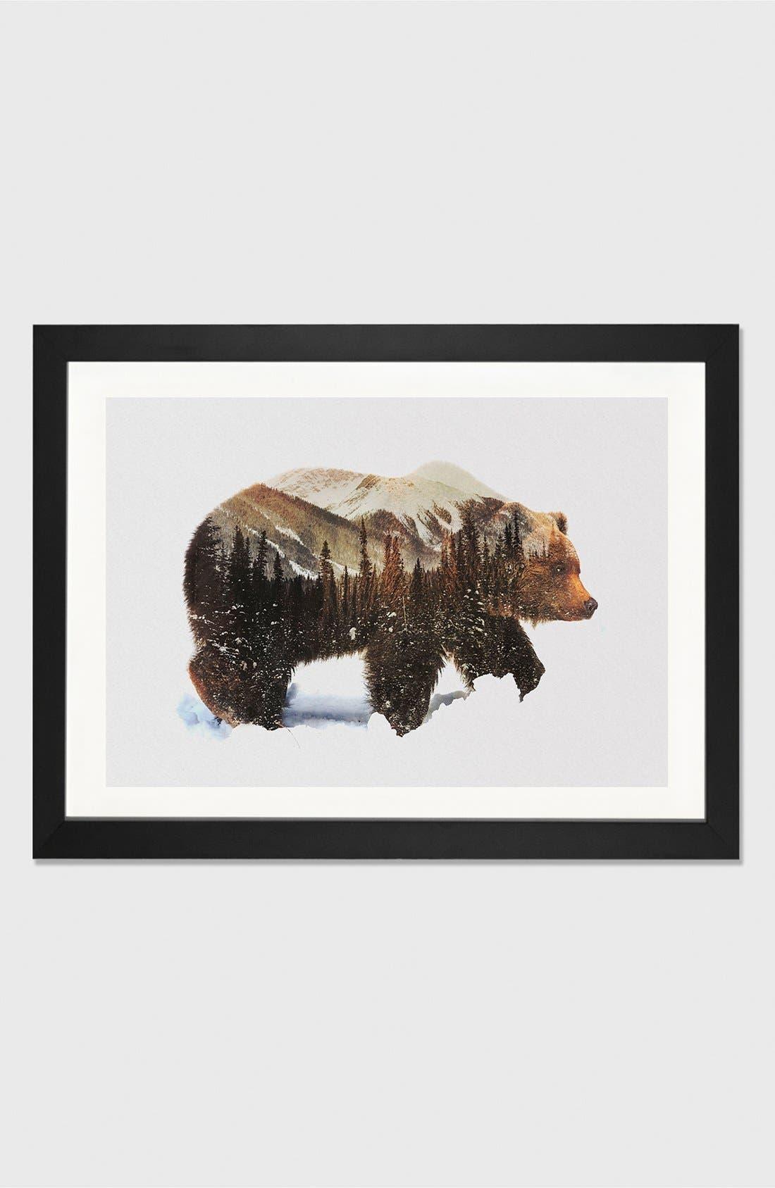Alternate Image 1 Selected - iCanvas 'Grizzly Bear' Giclée Print Framed Canvas Art