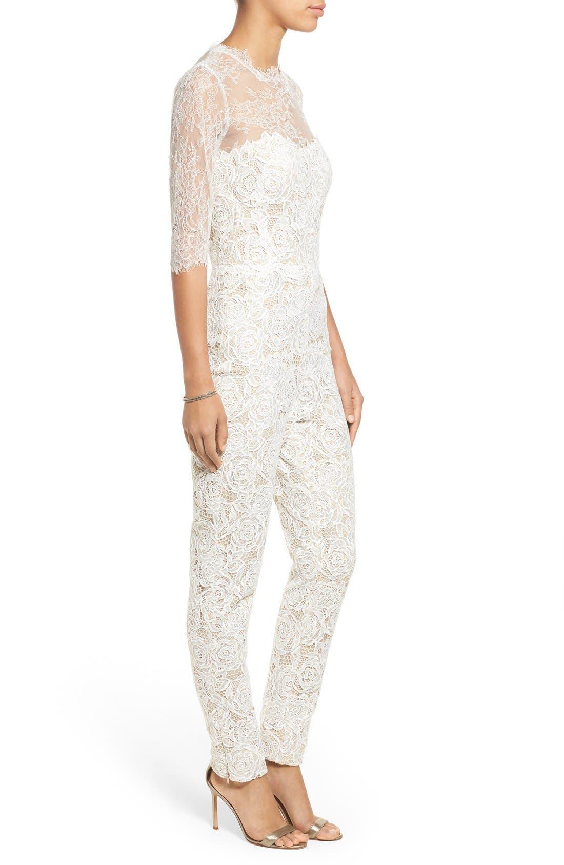 Monique Lhuillier Ready to Wed Guipure Lace Jumpsuit,                             Alternate thumbnail 3, color,                             Silk White/ Nude