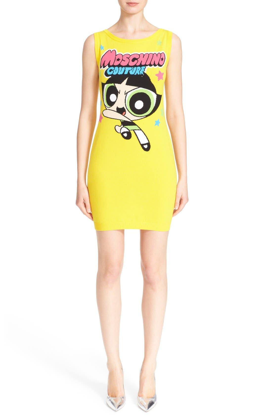 Main Image - Moschino 'The Powerpuff Girls® - Buttercup' Intarsia Knit Dress