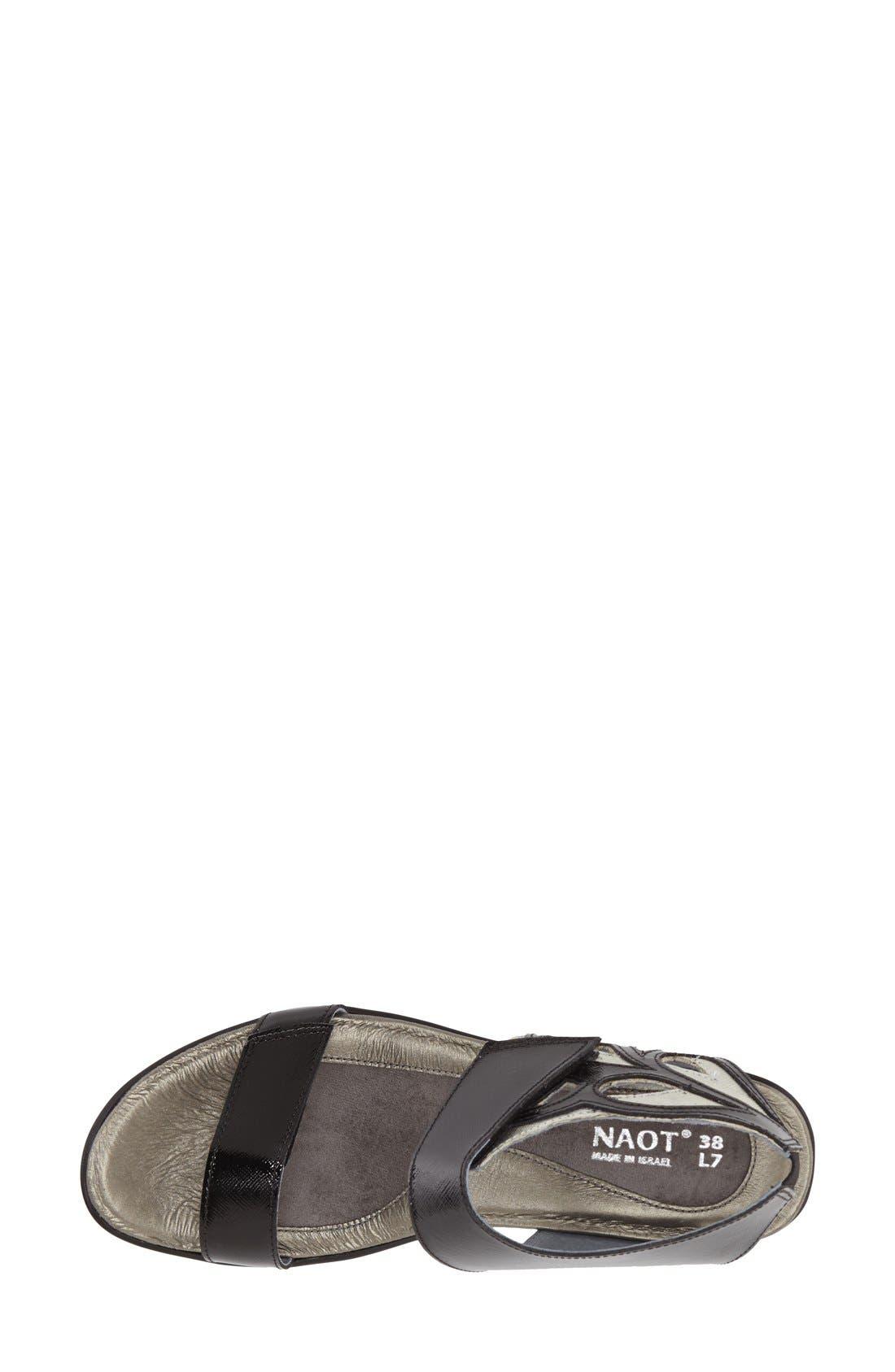 'Intrigue' Platform Wedge,                             Alternate thumbnail 3, color,                             Black Luster Leather